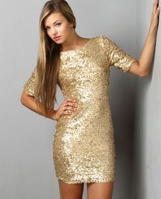 Lulus - Global DJ Gold Sequin Dress - $79