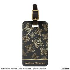 Butterflies Pattern Gold Black Personalize Luggage Tag