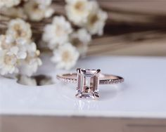 6x8mm Fancy Pink Emerald Cut Morganite Ring Solid 14K Rose Gold Morganite Engagement Ring Wedding Ring Anniversary Ring