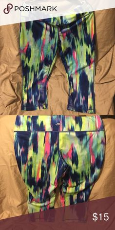 Watercolor print workout leggings from Idealogy Pink, blue, green and purple cropped workout leggings from Idealogy. Super soft and stretchy material! Never worn! Ideology Pants Leggings