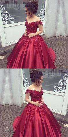 Burgundy Prom Dress, Prom Dress Lace, Long Prom Dress, Prom Dress Ball Gown, Shop plus-sized prom dresses for curvy figures and plus-size party dresses. Ball gowns for prom in plus sizes and short plus-sized prom dresses for Red Ball Gowns, Ball Gowns Prom, Party Gowns, Ball Dresses, Prom Party, Sweet 16 Dresses, Simple Dresses, Motif Corset, Princess Prom Dresses