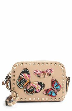 VALENTINO GARAVANI Rockstud Beaded Butterfly Leather Camera Crossbody Bag