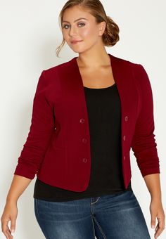 Plus Size Textured Knit Military Blazer In Deep Cranberry