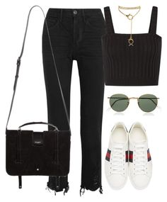 """""""Untitled #4551"""" by ericacavaco12 ❤ liked on Polyvore featuring 3x1, Gucci, Valentino, Ray-Ban and Yves Saint Laurent"""