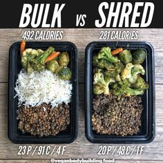 bodybuilding recipes Bulk or shred? - Here is another really simple example of how to create a bulking meal vs a cutting meal with the same core ingredients! Vegan Bodybuilding Diet, Bodybuilding Meal Plan, Bodybuilding Recipes, Bodybuilding Cutting, Vegan Athlete Meal Plan, Vegan Meal Plans, Healthy Meal Prep, Vegan Weight Gain, Weight Gain Meals