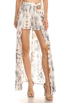 BOHO PRINT MAXI LAYERED SHORTS