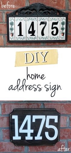 Love this DIY Home Address Sign from TheHowToCrew.com. An easy, inexpensive way to add curb appeal to your home! #decor #diy #tutorial