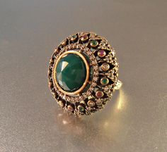 Sterling Ruby Emerald Ring Statement Cocktail by LynnHislopJewels