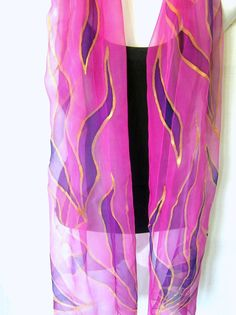 Hand painted silk chiffon scarf, leaves in pink, purple and gold, one of a kind, delicate and sheer, genuine handmade women fashion accessory by Silkshop on Etsy. The scarf is one of a kind item, vivid in colors, completely hand painted by me in my studio. Dimensions: 180 x 45 cm (1