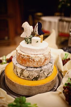 For an alternative to cake, try blocks of cheese. I LOVE this idea, especially if the groom isn't a big sweets fan.