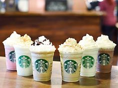 """Dubbed """"fan flavors,"""" the new blended beverages are Red Velvet Cake, Cotton Candy, Cinnamon Roll, Lemon Bar, Caramel Cocoa Cluster and Cupcake."""