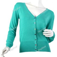 Trendy Solid Color Gardigan Knitwear Knitted Sweater Knitting Shirt w Long Sleeves f Girl Woman NDD-52661