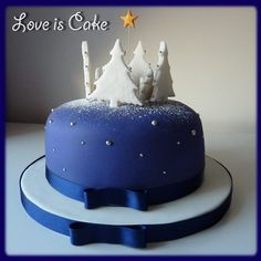 Navy Blue Christmas Cake (fruit cake) with snowy forest and stars. All hand made and edible.