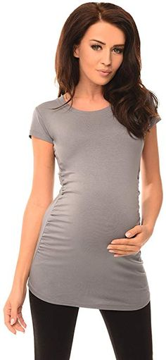 177e5483b2836 Purpless Maternity Top T-Shirt Pregnancy Top Clothing 5010 (10, Gray) at
