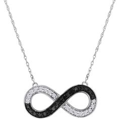 Elani Jewelry Sterling Silver Black & White Diamond Infinity Necklace... ($65) ❤ liked on Polyvore featuring jewelry, necklaces, accessories, pendant necklace, sterling silver necklace pendant, infinity pendant necklace, sterling silver infinity jewelry and sterling silver infinity pendant