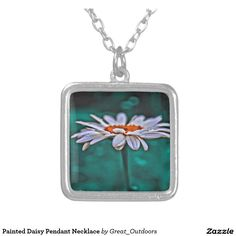 Painted Daisy Pendant Necklace