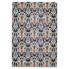 Anchor your living room seating group or define space in the den with this eye-catching rug, featuring an ikat motif in navy, beige, and orange....