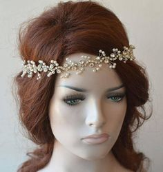 Pearl and Crystal Bridal Headband , Rhinestone Headpiece, Bridal hair piece, Bridal Hair Accessory, Pearl Hairpiece Wedding hair Accessory