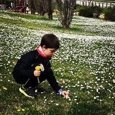 Preparando un ramo de flores silvestres para la mami después de un entrenamiento de 8km. Esto es amor!!!!