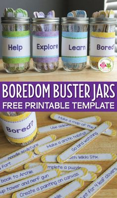 Make a set of boredom buster jars with the free editable template. Keep kids busy by providing them with lots of summer vacation activities and spring break activities ideas. Use the printable to make custom activity sticks and container labels. Use for classroom activities too. Make name jars, brain break jars, circle time song and activity jars, early finisher activity jars et. Great for preschool, pre-k, and kindergarten.