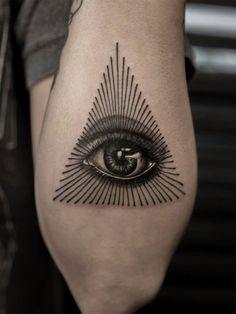 Tribal Arm Tattoos, Black Tattoos, New Tattoos, Tatoos, Eye Tattoo Meaning, Triangle Tattoo Meaning, Illuminate Tattoo, Ojo Tattoo, Providence Tattoo