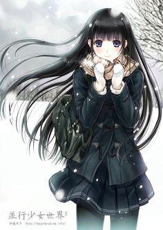 Anime girl in winter