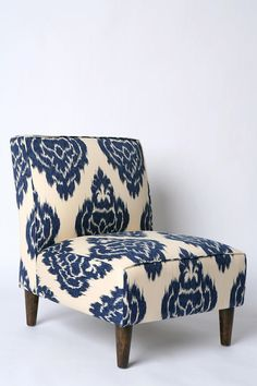 #luxurious #fort #slipper #com #indigo #profile #sweet #chair #fabric #cotton #seat #print       Slipper Chair - Indigo Ikat                         Sweet vintage-inspired armless Slipper chair, with low-slung profile, covered in luxurious cotton fabric with allover indigo ikat print. Cushioned and curved high-density, foam-filled seat and back provide serious comfort, while tapered richly stained woo     http://pin.seapai.com/UrbanOutfitters/HomeandGarden/Furniture/6833/buy