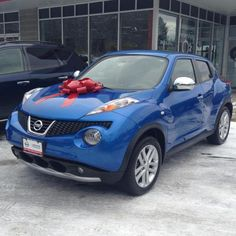 My Nissan Juke SL in electric blue. It has my two requirements: speed and sound. Plus, it has a bunch of other stuff.