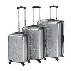 vente-privee - Heys Luggage : Girl's Disney : Embossed Faces 3 Piece Set|silver