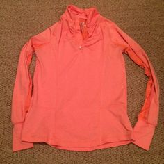 Like New 90 Degree 1/4 Zip Pullover Coral Small Like New 90 Degree by Reflex 1/4 Zip Pullover in Coral Size Small. Worn once or twice. Fits very similar to Nike's Element 1/2 Zip. Long sleeves with thumbhole accents to keep hands warm and protective. Very cute lace mesh detailing under arms and on back. Small back zip pocket for keys, phone, etc. Great for any outdoor workout! Not Nike! Nike Tops Sweatshirts & Hoodies