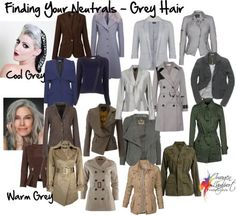 grey hair Whats your best neutral if you have gray hair These are some good options based on your skin tone temperature. But it does happen that someone with a warm skin tone turns steely gray too, and then the fun begins! Silver Grey Hair, Gray Hair, Grey Hair Cool Skin Tone, Cool Winter, Clear Winter, Inside Out Style, Salt And Pepper Hair, Color Me Beautiful, Grey Outfit