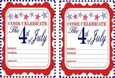 """FREE July 4th Party Printables! The collection includes: invitations, party circles, tented cards, drink straw flags, favor tags, sparkler holders with directions (cool, right?!), matchbox covers, and a """"Let Freedom Ring"""" banner."""