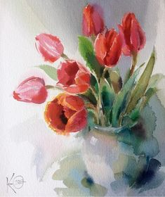 """Watercolor painting """"Red Tulips"""" by Julia Kirilina - Aquarelle - Tulip Painting, Painting & Drawing, Watercolor Cards, Watercolor Flowers, Beach Watercolor, Art Paintings, Watercolor Paintings, Watercolours, Red Tulips"""
