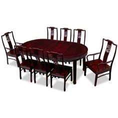 China Furniture Online Rosewood Dining Table, 80 Inches Bird and Flower Design Oval Dining Set with 8 Chairs Dark Cherry Finish