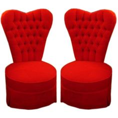 Pair of Heart Shaped Bedroom Chairs France 1940 Pair of Heart Shaped Back Bedroom Chairs W x H x D Upholstered in Red Cashmere/Wool Blend