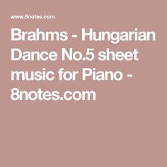 Brahms - Hungarian Dance No.5 sheet music for Piano - 8notes.com