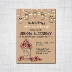 Customize this fun rustic mason jar with daisies for an after the wedding invitation set to create the perfect tone for your reception. Want it for your wedding invitation? Perfect! We work with you t