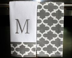 Monogram Kitchen Towels or Hand Towels in Grey / by DesignsByThem