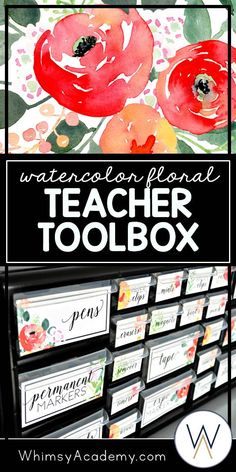 Have you considered making a teacher toolbox for your classroom this year? These editable labels will make that organization process fun and easy! These labels are perfect for the elementary, middle school, or high school classroom. Each label features a stunning watercolor floral design. Click here to make your classroom organization beautiful this year!