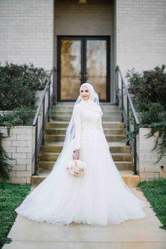 "Details: Photographer: Arrick Photography Venue: Summit Club Longview, Texas Dress: Custom made by Third and Loom Hijab: Blancelle""Ivory Chiffon"""