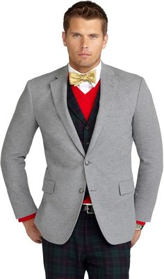 $498, Grey Cotton Blazer: Brooks Brothers Regent Fit Soft Cotton Flannel Sport Coat. Sold by Brooks Brothers. Click for more info: https://lookastic.com/men/shop_items/8425/redirect