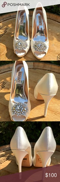 "BADGLEY MISCHKA ""Pettal"" Platform Pump (Size 5.5) - Excellent condition - worn only once on my wedding day - Gorgeous peep-toe platform pumps with rhinestone ornamentation  - Size 5.5 - 5"" heel  - Minor scratch on one of the heels (see photos) Badgley Mischka Shoes Heels"