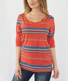 Look at this #zulilyfind! Rust & Blue Stripe Button-Accent Scoop Neck Top #zulilyfinds