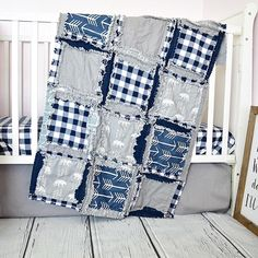 Rag quilt bear and Teepees woodland baby boy crib bedding for nursery. Made in grey and navy blue. Sizes and Pricing Available in Drop Down Menu The crib bedding is made in Rag quilt style with exposed ragged seams on the quilts and bumper.   Make sure to check out all the Woodland Crib Bedding available from AVTRBou