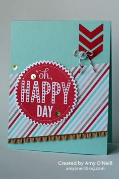 Oh Happy Day - Starburst Sayings Stamp Set - Fresh Prints DSP, Whisper White, Real Red, Coastal Cabana paper