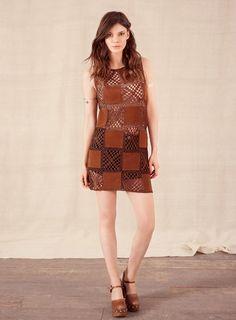 Suedette Crochet Patch Dress