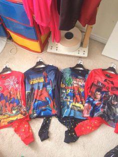 marvel pj's, batman and superman, image Batman And Superman, Spiderman, Pjs, Marvel, Superhero, Fall, Clothing, Image, Spider Man