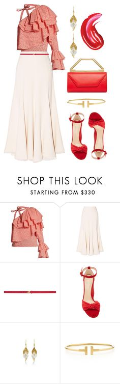 """""""One Shoulder Chic"""" by dominosfalldown ❤ liked on Polyvore featuring Rosie Assoulin, Gabriela Hearst, Yves Saint Laurent, Marion Parke, Annette Ferdinandsen, Tiffany & Co., red, ruffles and embellishedsleeves"""