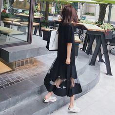 반소매 꼬리 치기 활공 스커트 순 실 접합은 얇은 flounced 드레스 새로운 새로운 도착 여성의 학생들은 여름 2017 년 드레스되었다