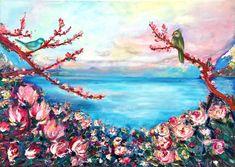 Magnolias by Nino Ponditerra Paintings For Sale, Original Paintings, Original Art, Canvas Paintings, Magnolia Paint, Magnolia Flower, Palette Art, Palette Knife, Lake Painting